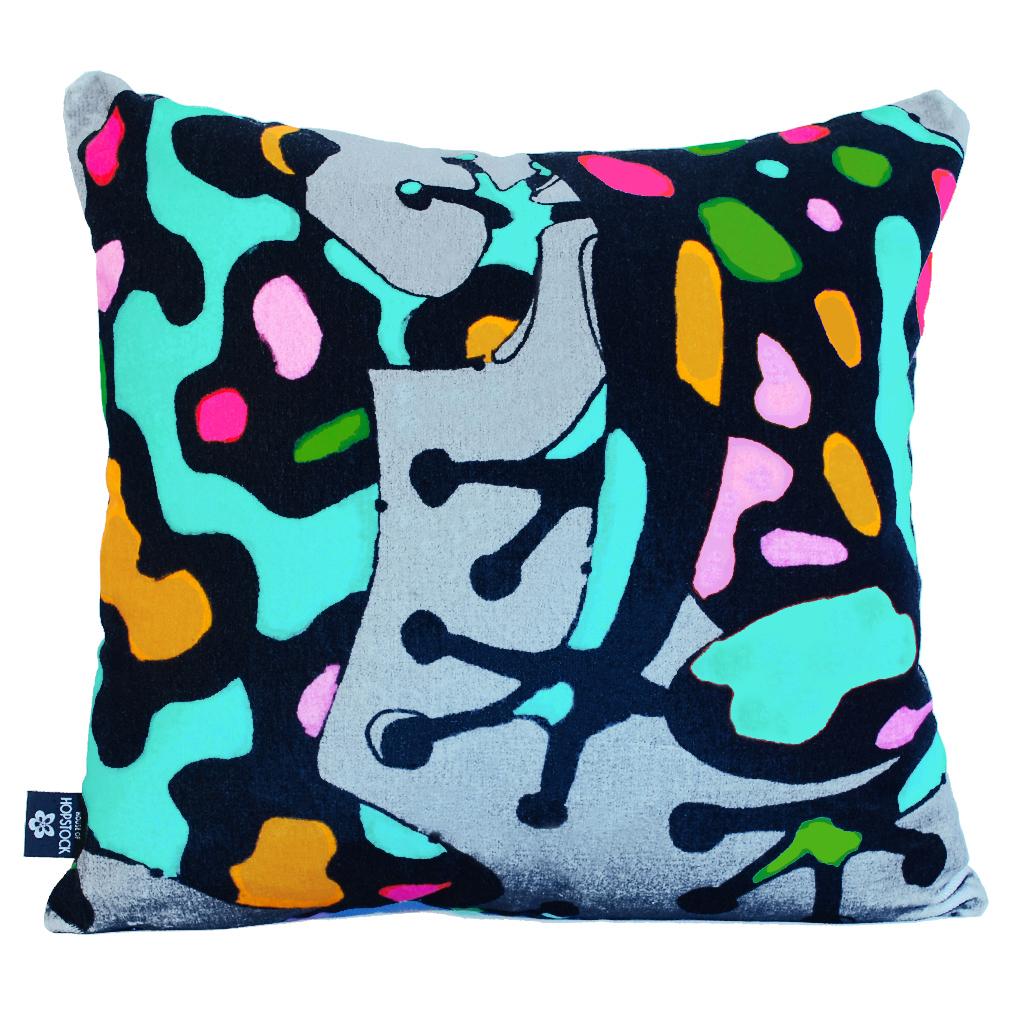 Abstract Frog Cushion Cover 'Fatal Attraction grey'