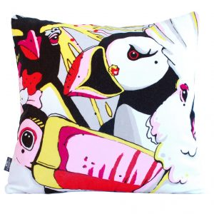 Bird Print Cushion Cover 'Rare Bird Quartet'
