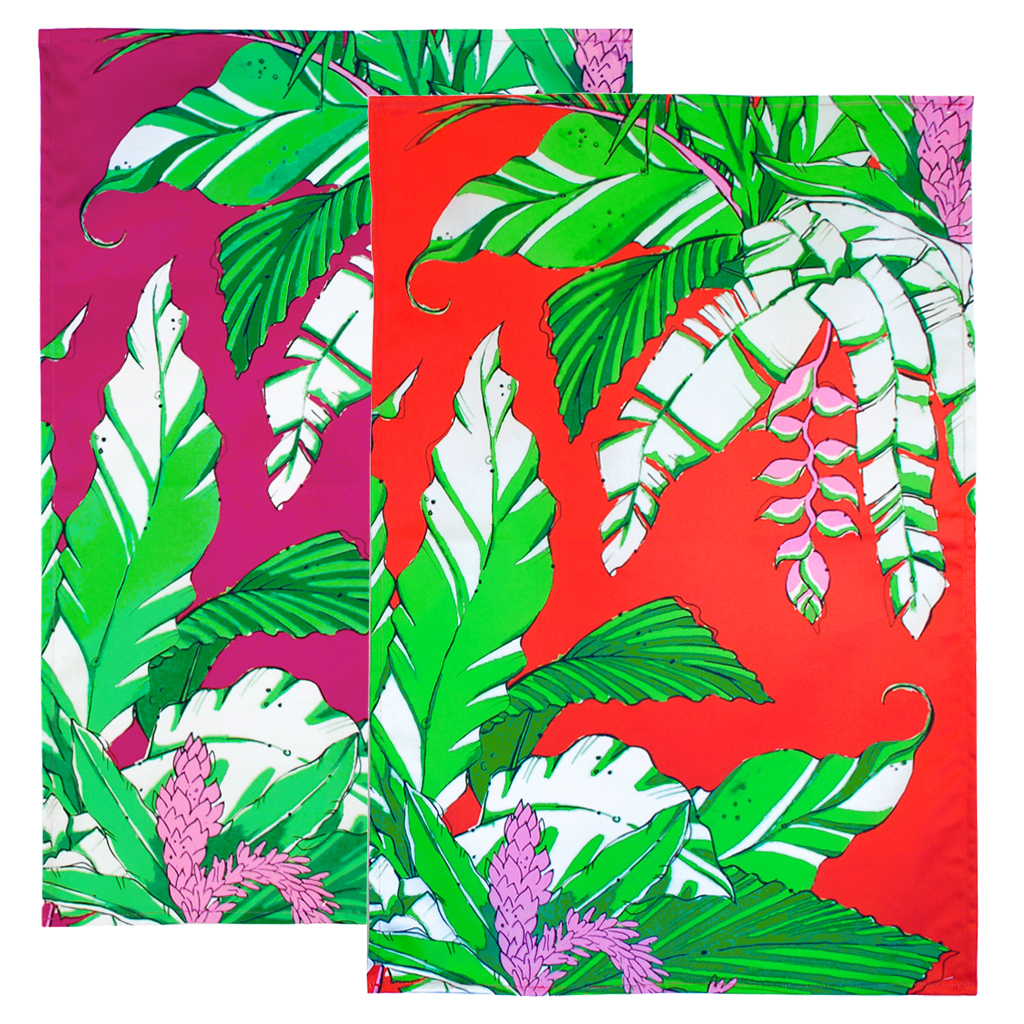 Tropical Palm Tea Towel 'Winter Palm' duo christmas