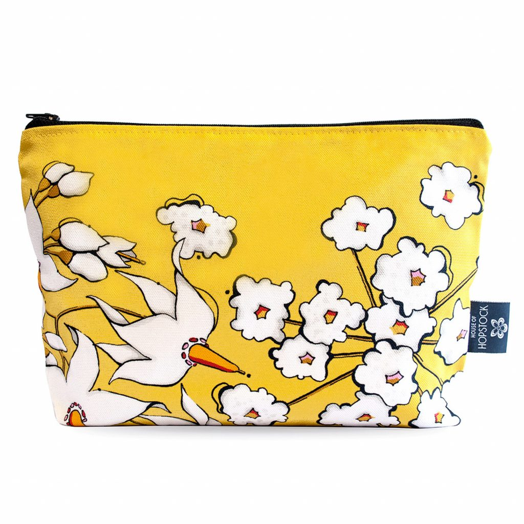 Our decadent Floral Print Makeup Pouch 'Deadly Bloom' Gold