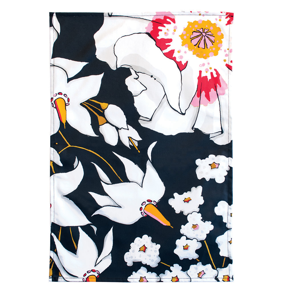 Floral Print Tea Towel 'Deadly Bloom' Black