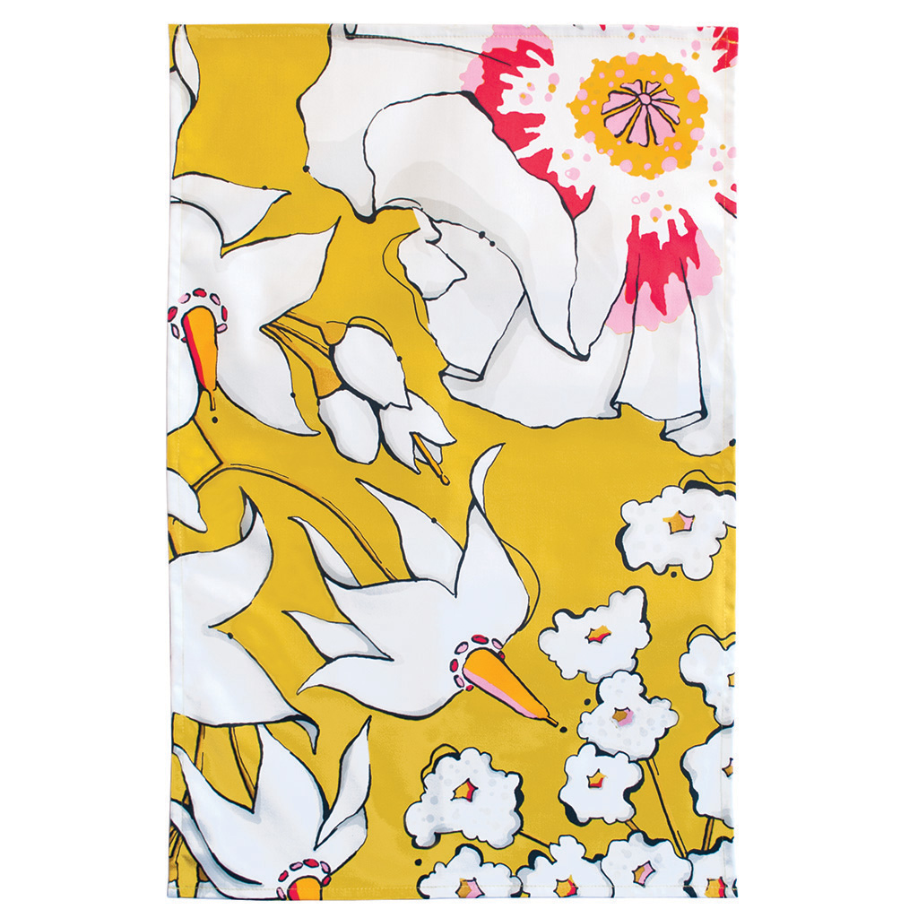Floral Print Tea Towel 'Deadly Bloom' Gold