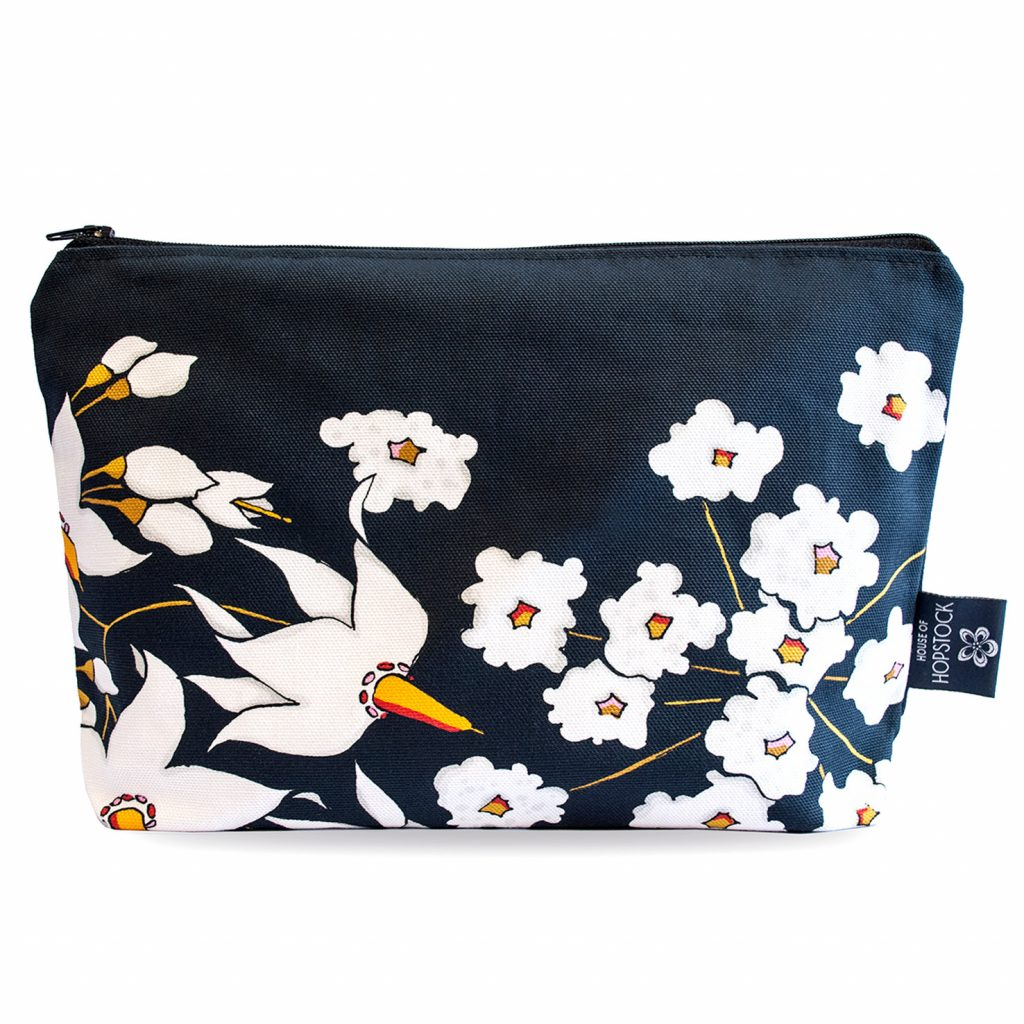 Floral Print Makeup Pouch 'Deadly Bloom' Black