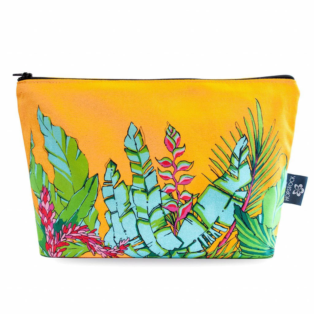 Palm Print Makeup Pouch 'Shangri La Orange'