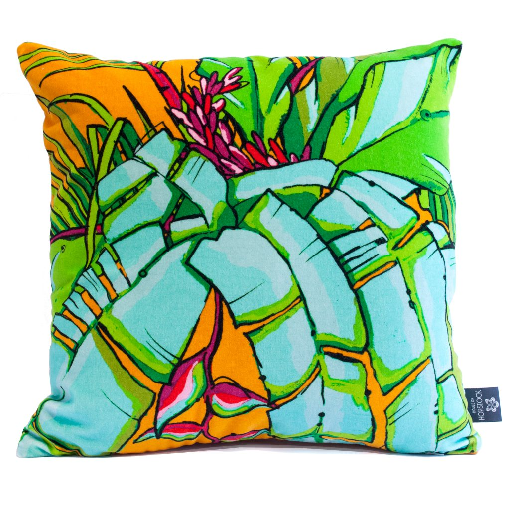 Tropical Palm Cushion Cover 'Shangri La Orange'