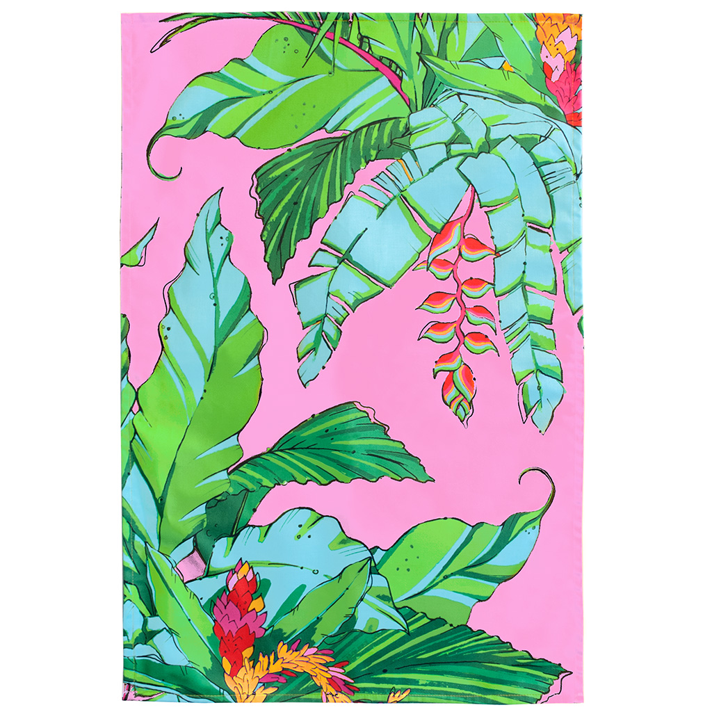 Palm Print Tea Towel 'Shangri La Pink'