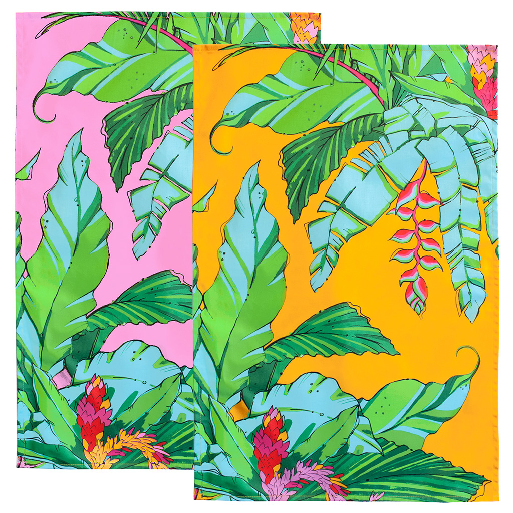 Tropical Palm Tea Towels 'Shangri La Duo'