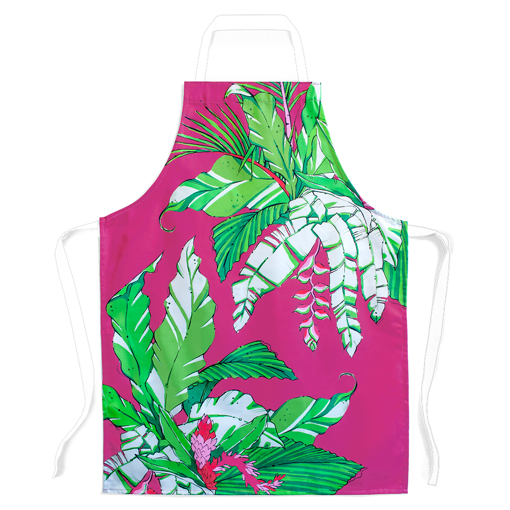 Palm Print Apron 'Winter Palm'