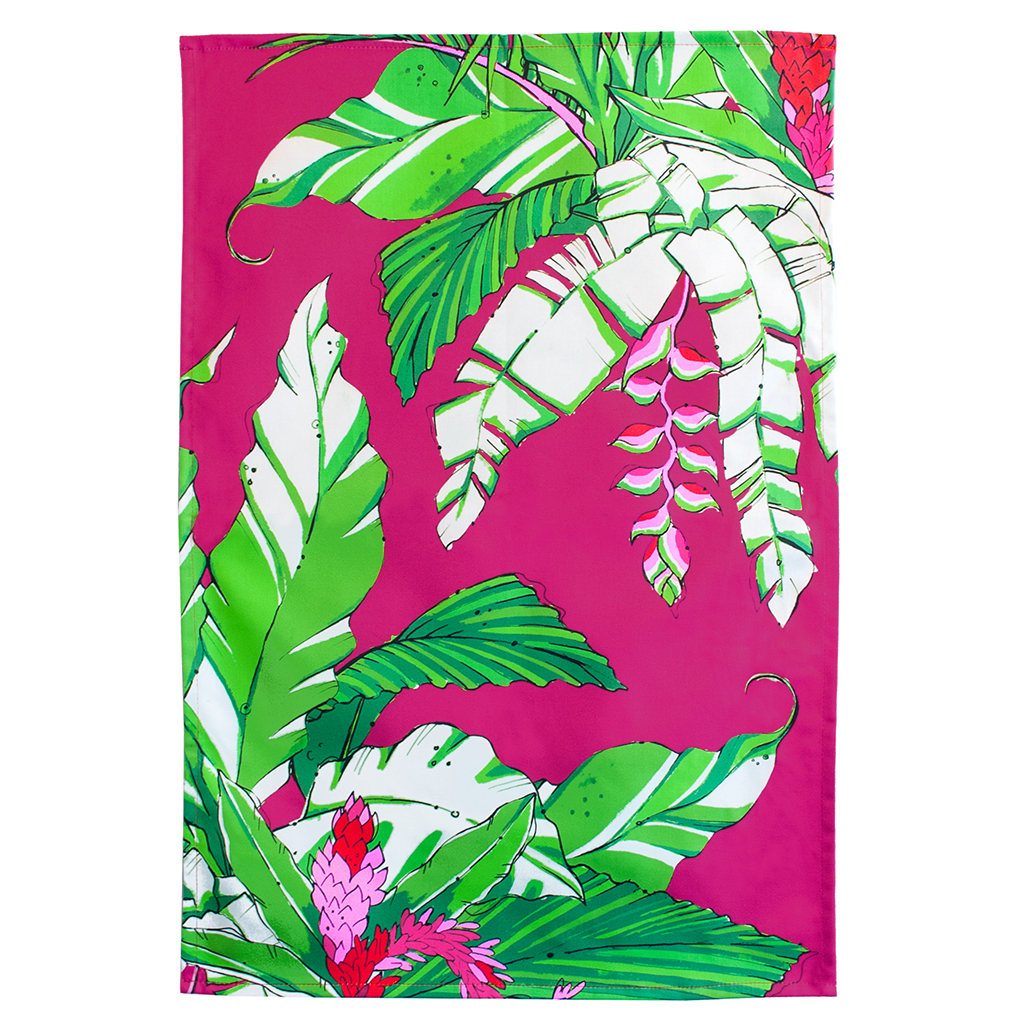 Palm Print Tea Towel 'Winter Palm Magenta'