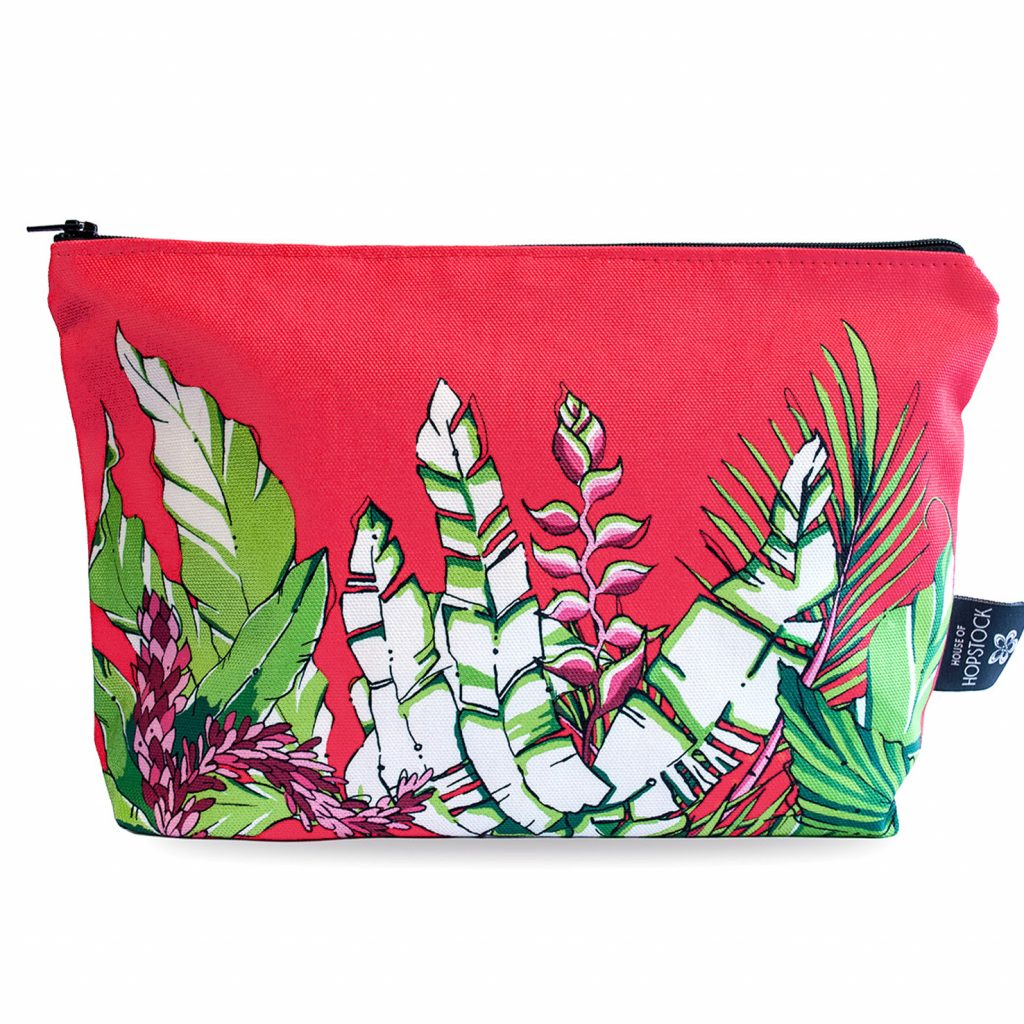 Palm Print Makeup Pouch 'Winter Palm Red'