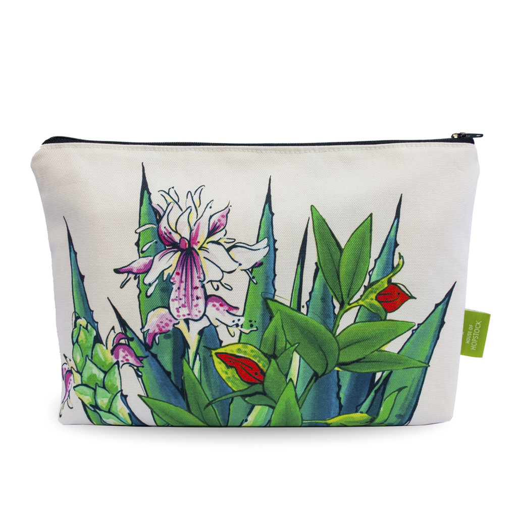 Tropical Print Makeup Pouch 'Tulum Canvas'