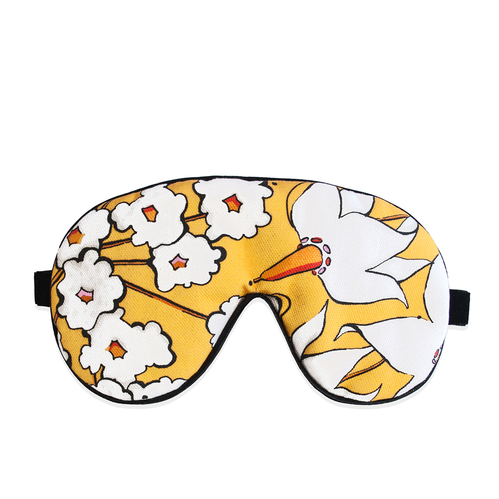 Floral Print Eye Mask 'Deadly Bloom' Gold