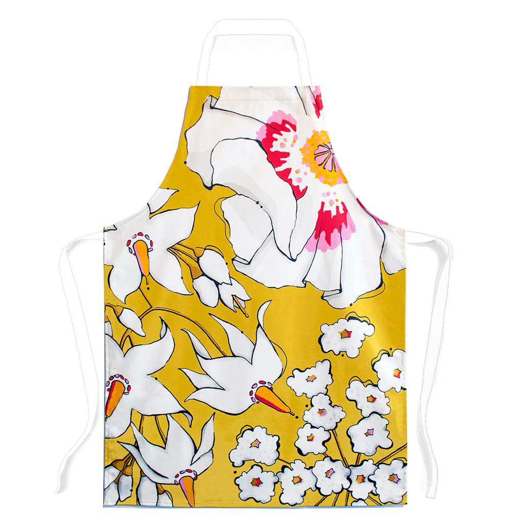 Floral Print Apron 'Deadly Bloom' Gold