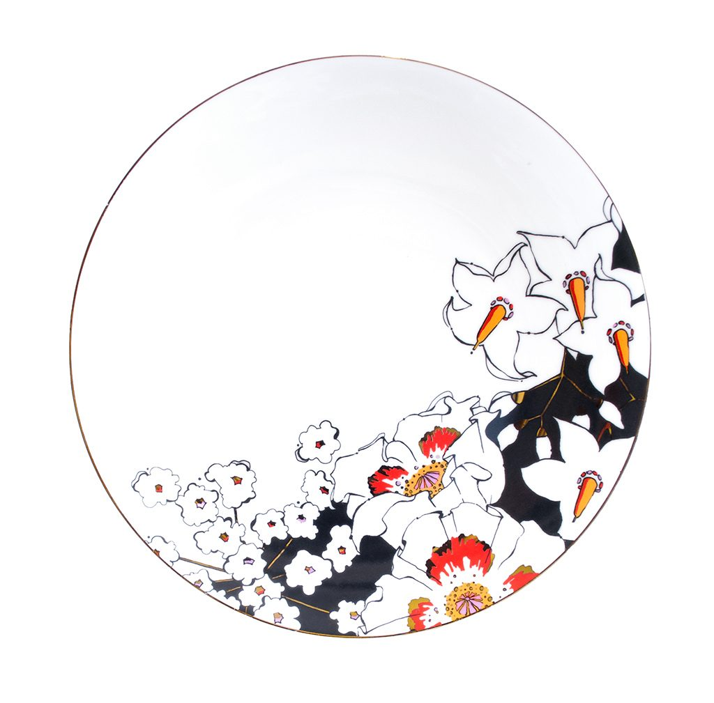 Fine Bone China Plate 'Deadly Bloom'