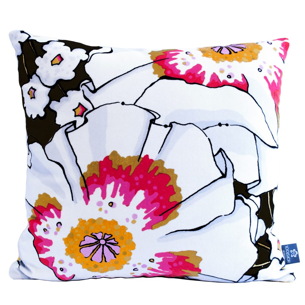Floral Print Cushion Cover 'Deadly Bloom' Poppy Black
