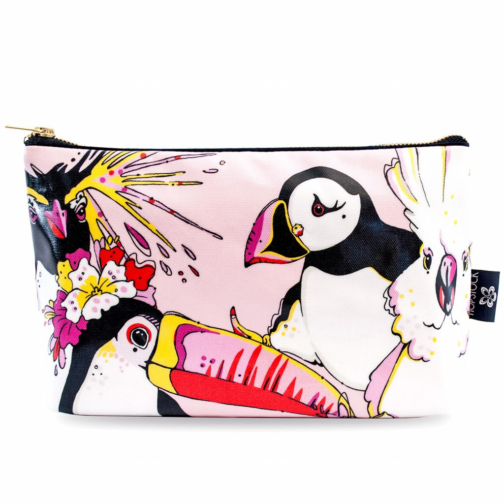 Bird Print Wash Bag 'Rare Bird Pink' Large