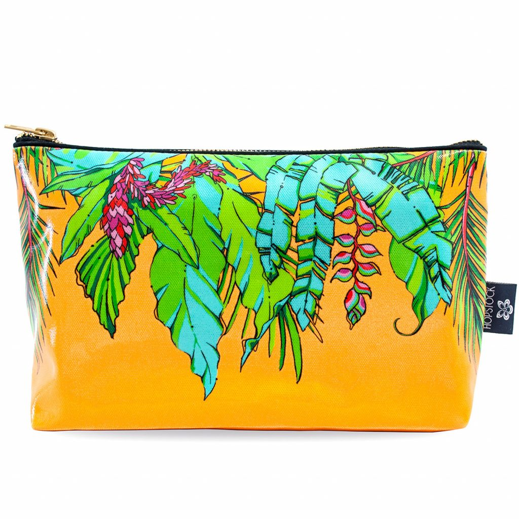 Palm Print Wash Bag 'Shangri La Orange' Large