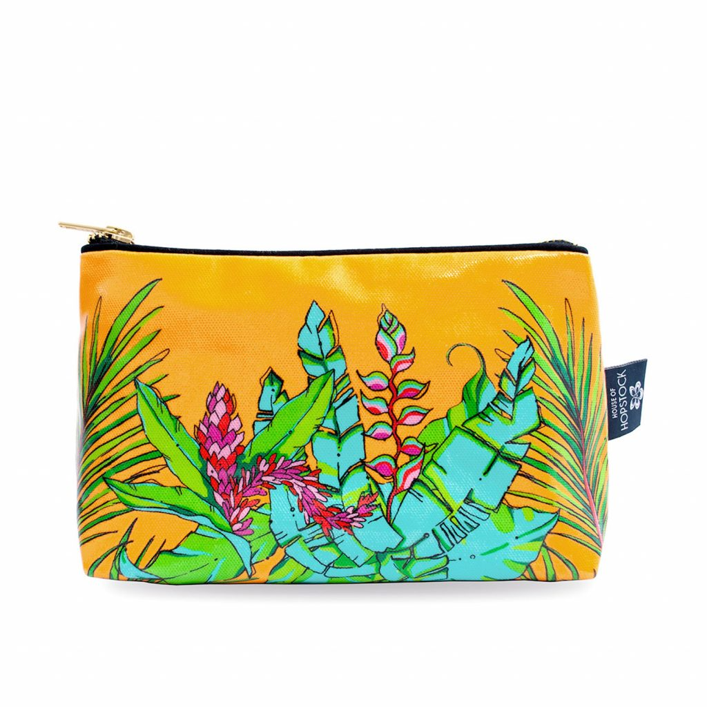Palm Print Wash Bag 'Shangri La Orange' Medium