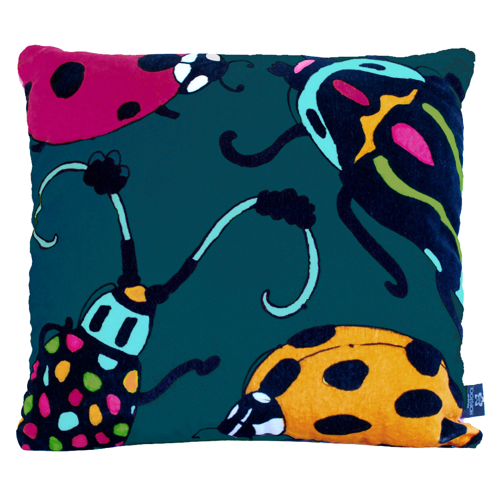 Beetle Print Cushion Cover 'Bugsy Malone' Teal