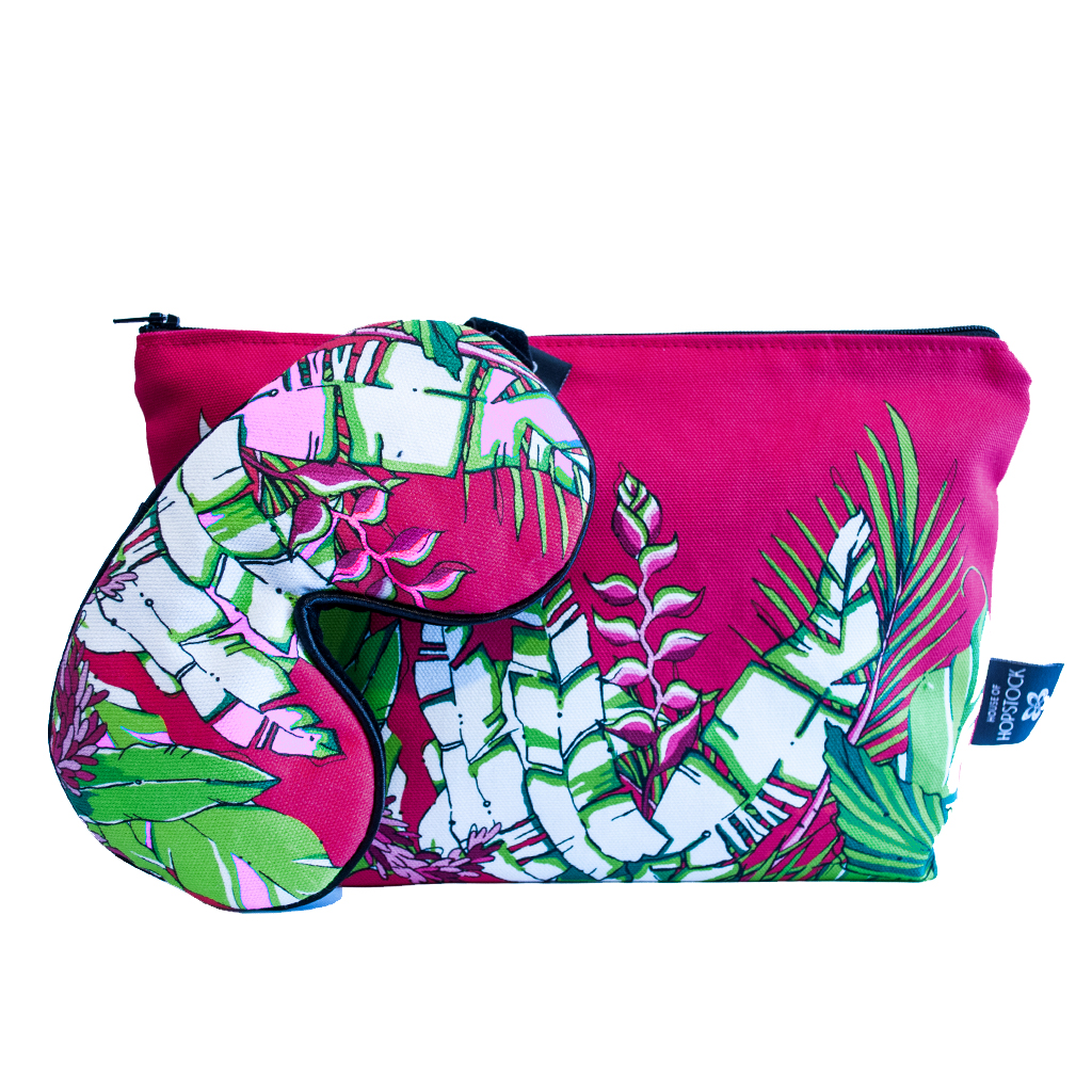 Palm Print Eye Mask & Makeup Pouch 'Winter Palm'