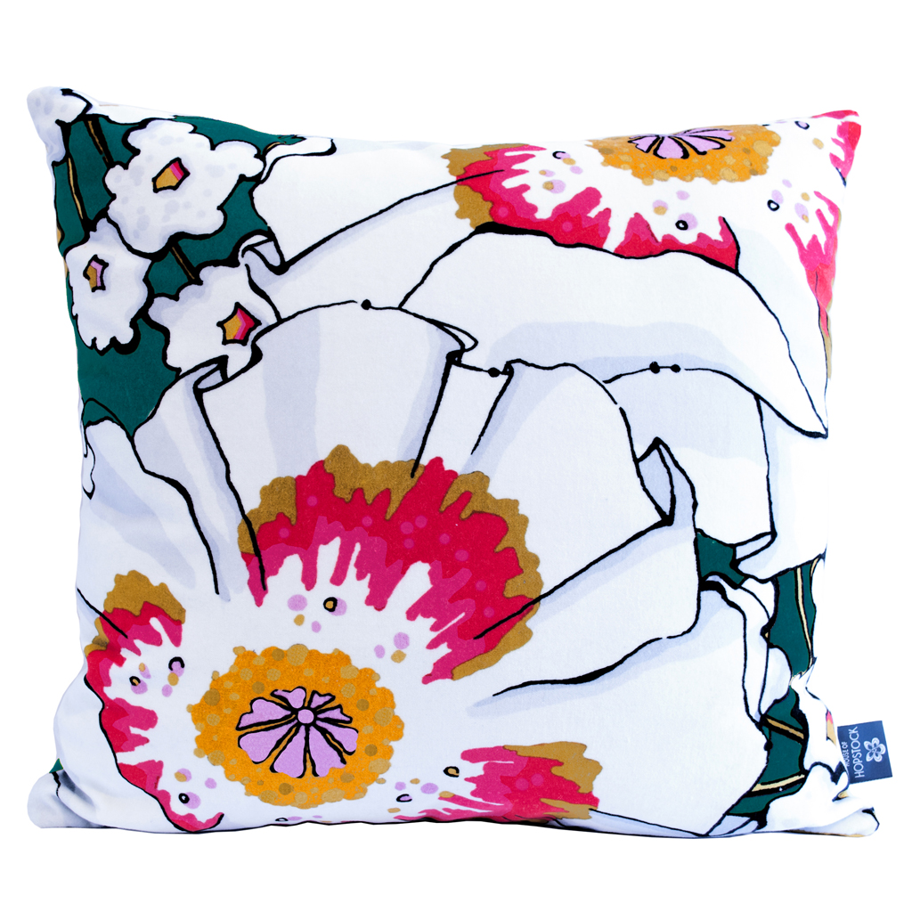 Floral Print Cushion Cover 'Deadly Bloom' Poppy Teal