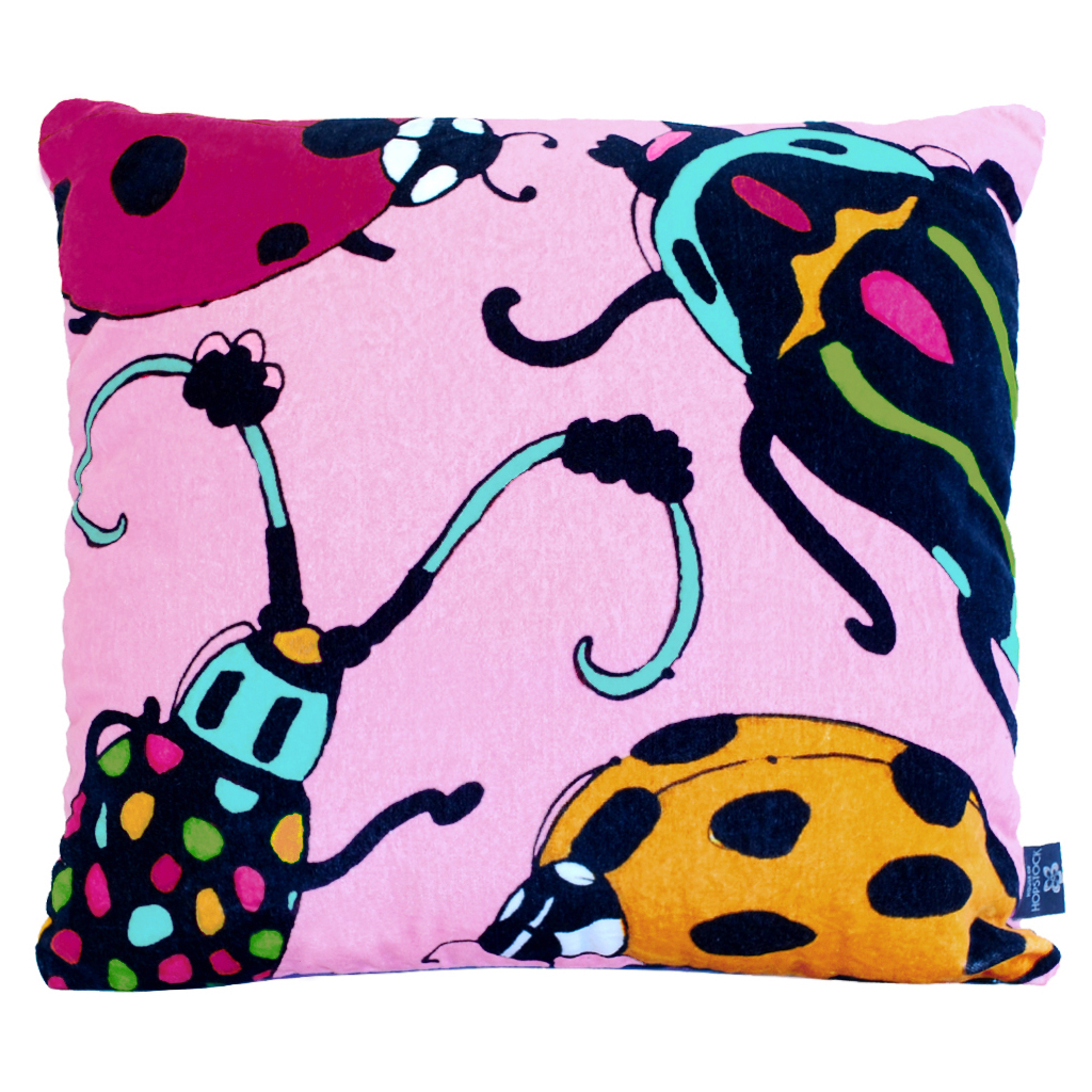 Playful Beetle Print Cushion Cover 'Bugsy Malone' pink