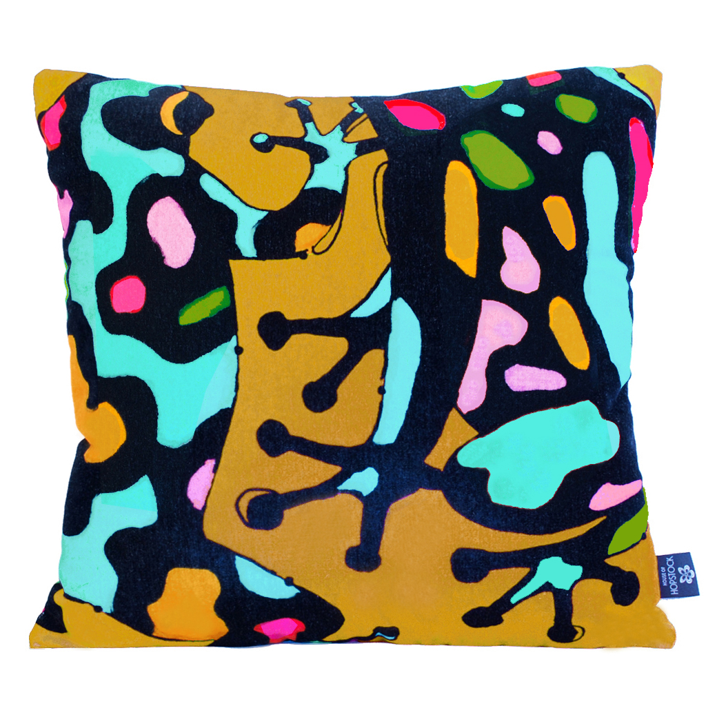 Abstract Frog Cushion Cover 'Fatal Attraction Gold'