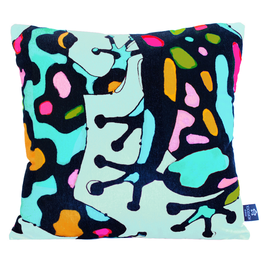 Abstract Frog Cushion Cover 'Fatal Attraction Mint'