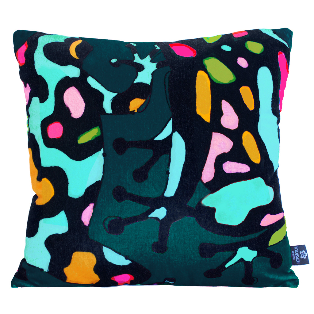 Abstract Frog Cushion Cover 'Fatal Attraction Teal'
