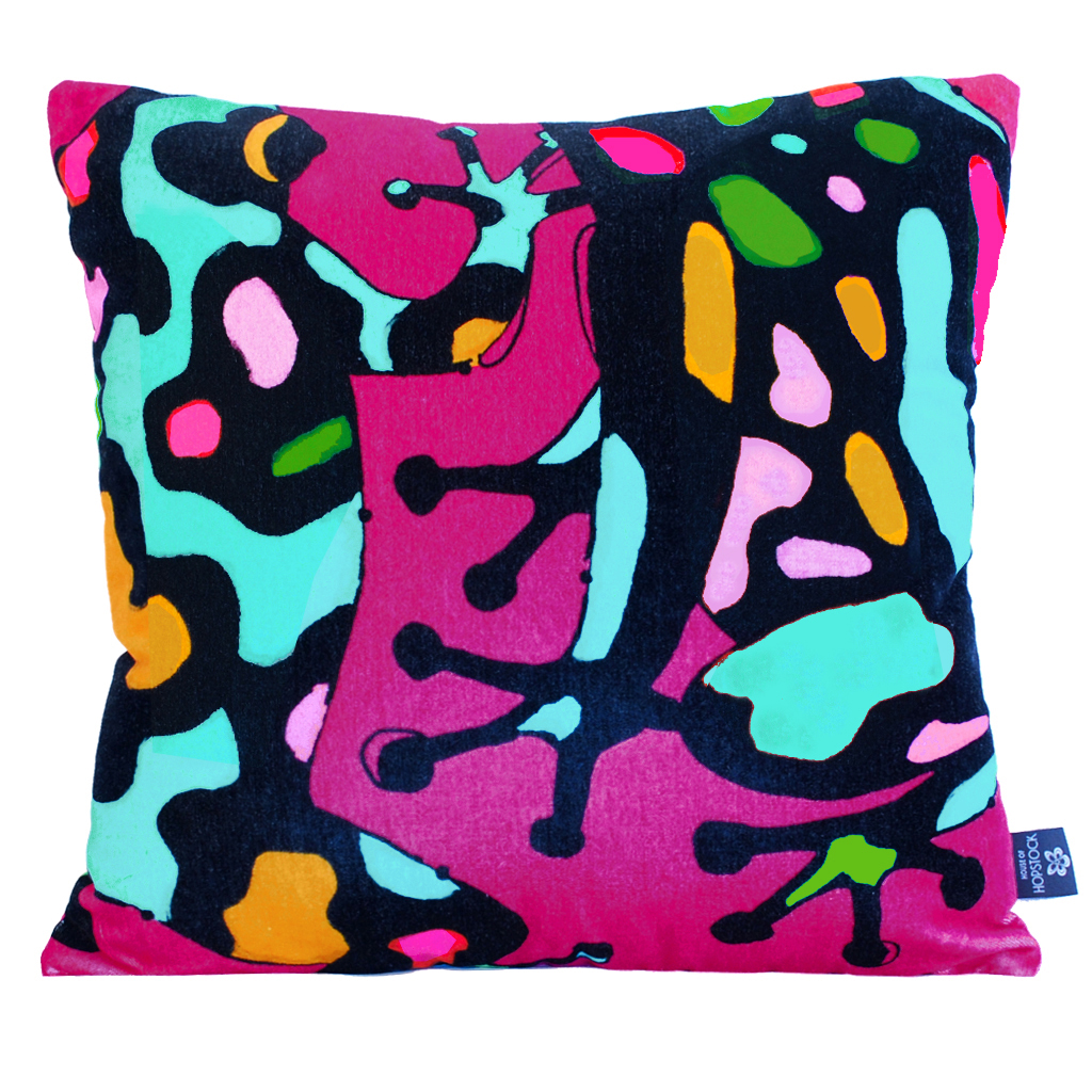 Abstract Frog Cushion Cover 'Fatal Attraction Pink'