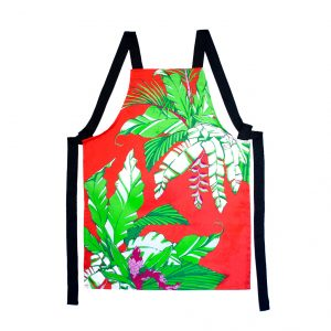 Palm print children's apron 'Winter Palm' red christmas
