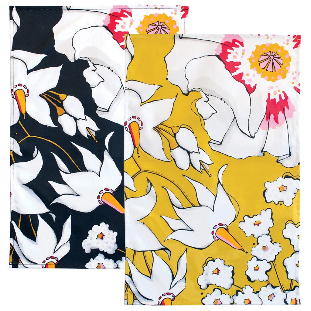 Floral Print Tea Towels 'Deadly Bloom'