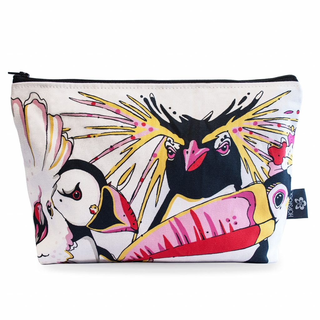 Bird Print Makeup Pouch 'Rare Bird Canvas'