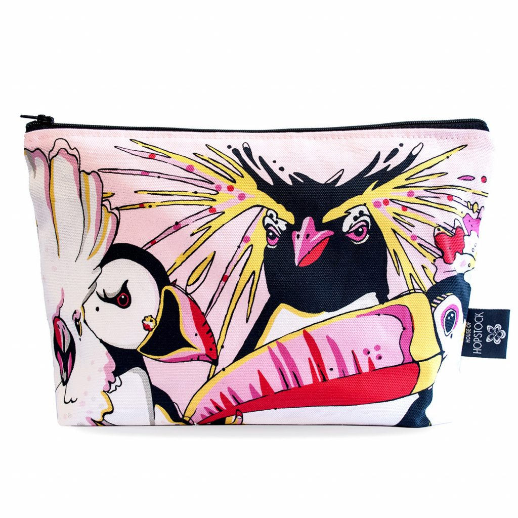 Bird Print Makeup Pouch 'Rare Bird Pink'