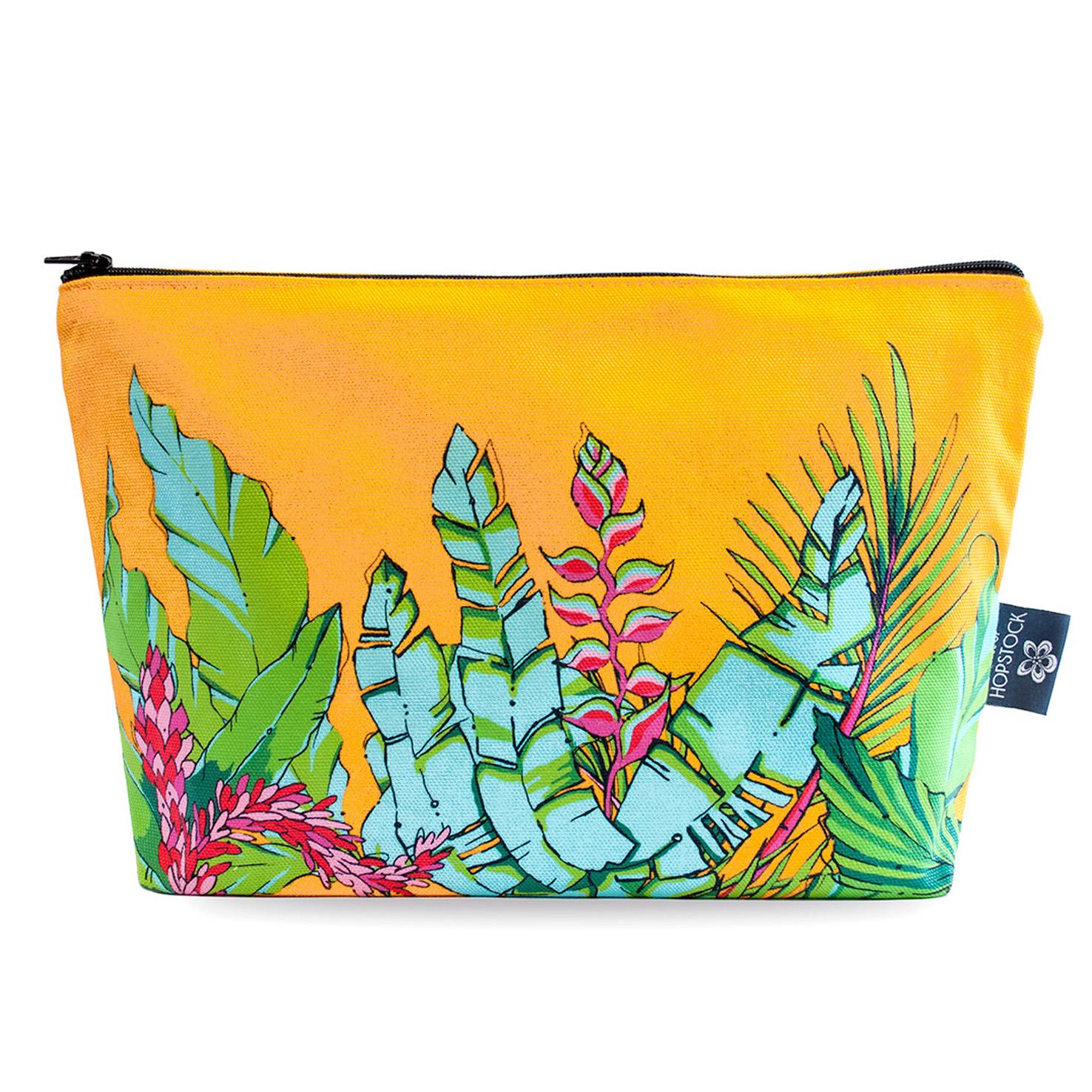 Palm Print Makeup Pouch 'Shangri La Orange'