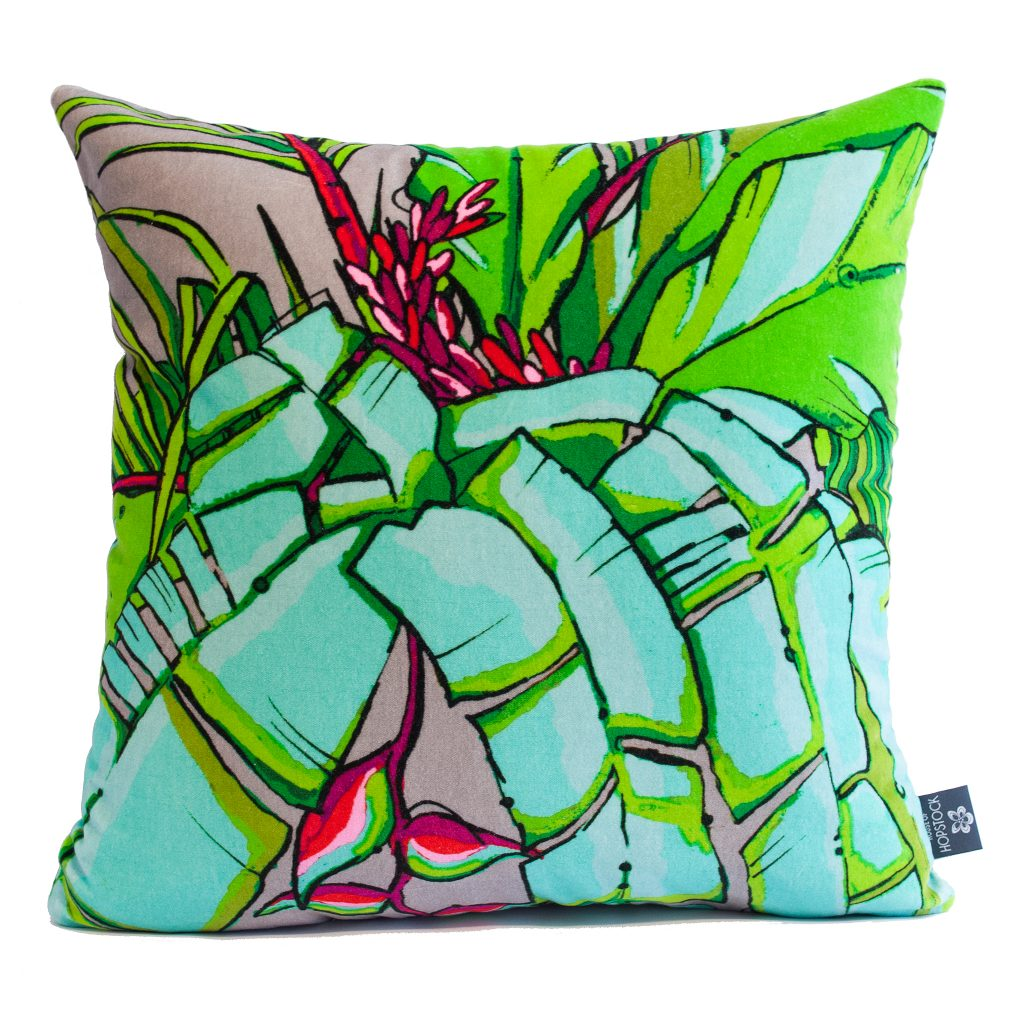 Tropical Palm Cushion Cover 'Shangri La Grey'