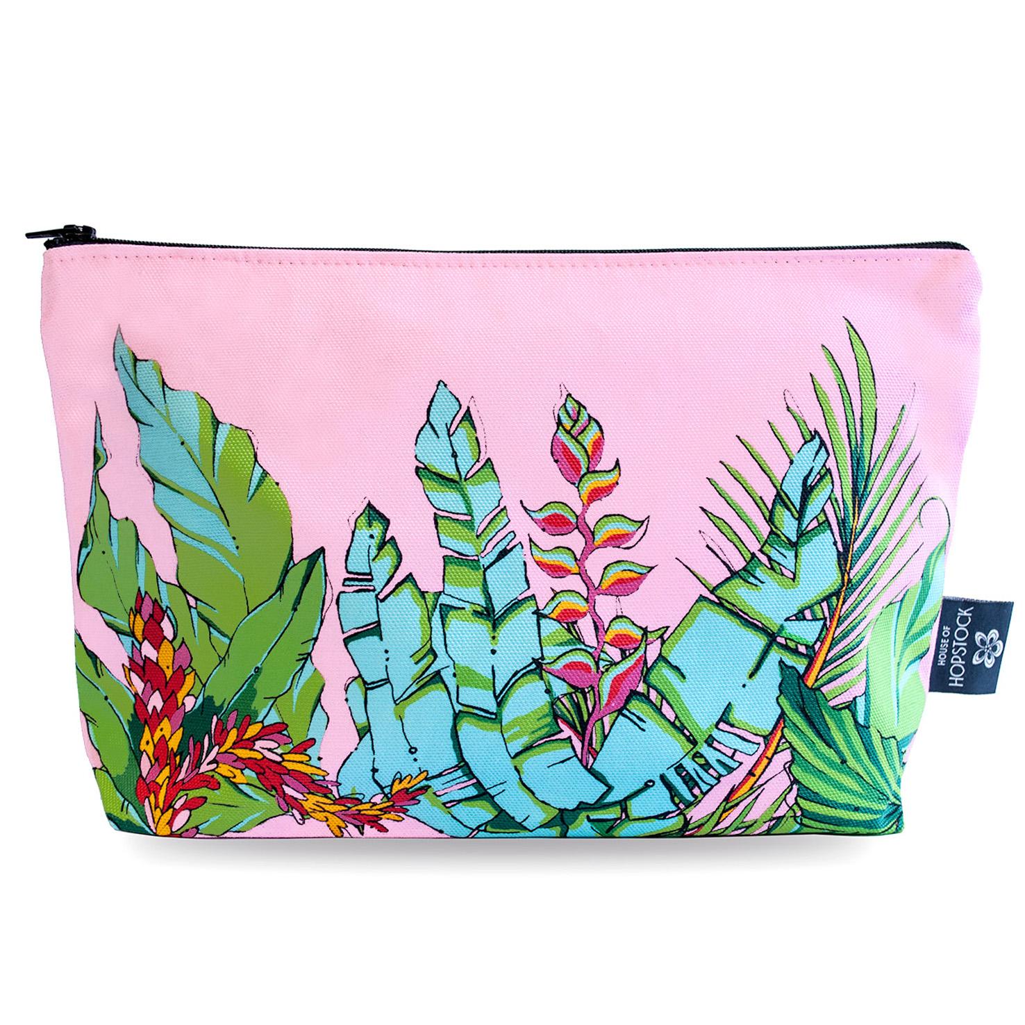 Palm Print Makeup Pouch 'Shangri La Pink'