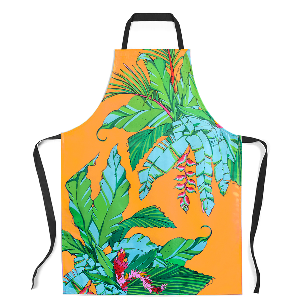 Palm print Apron 'Shangri La Orange'