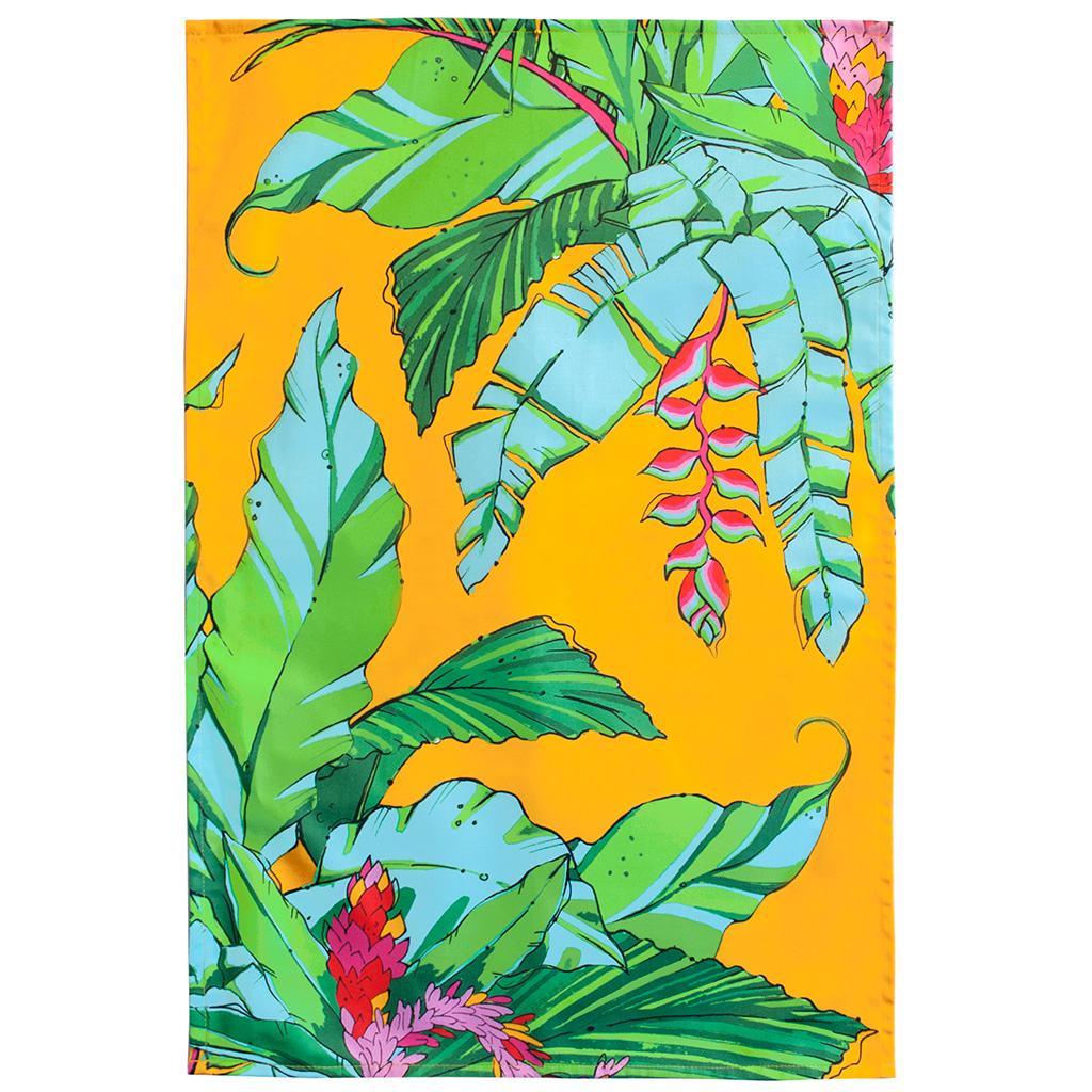 Palm Print Tea Towel 'Shangri La Orange'