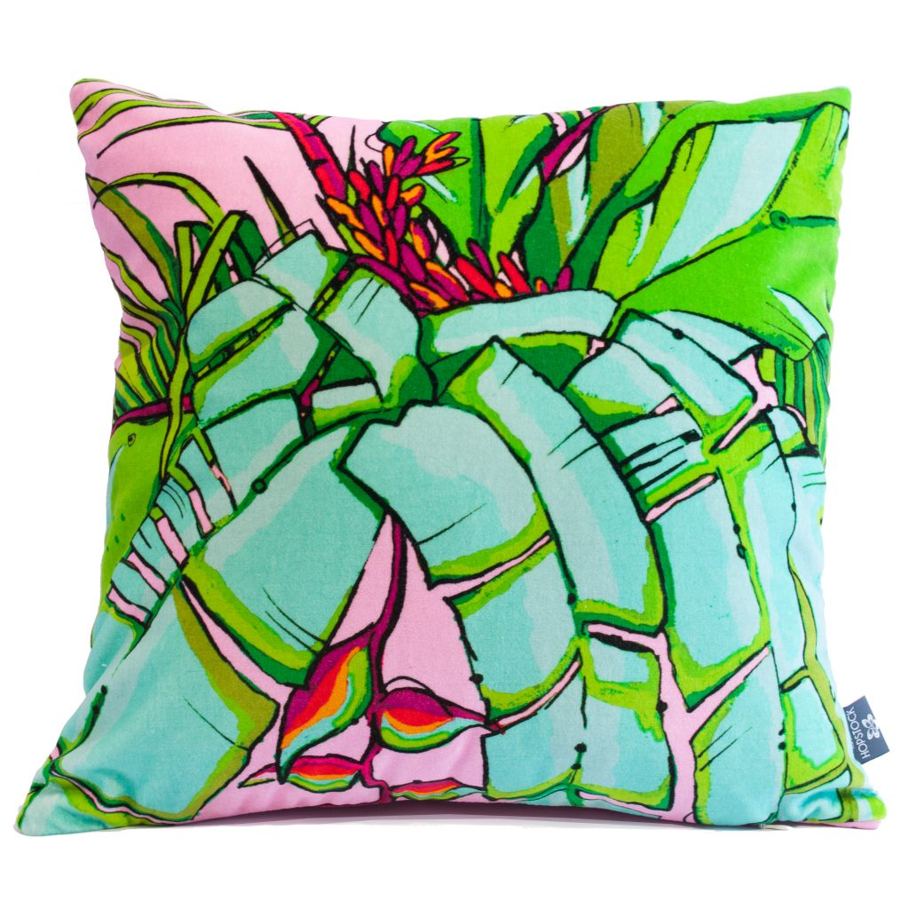 Tropical Palm Cushion Cover 'Shangri La Pink'