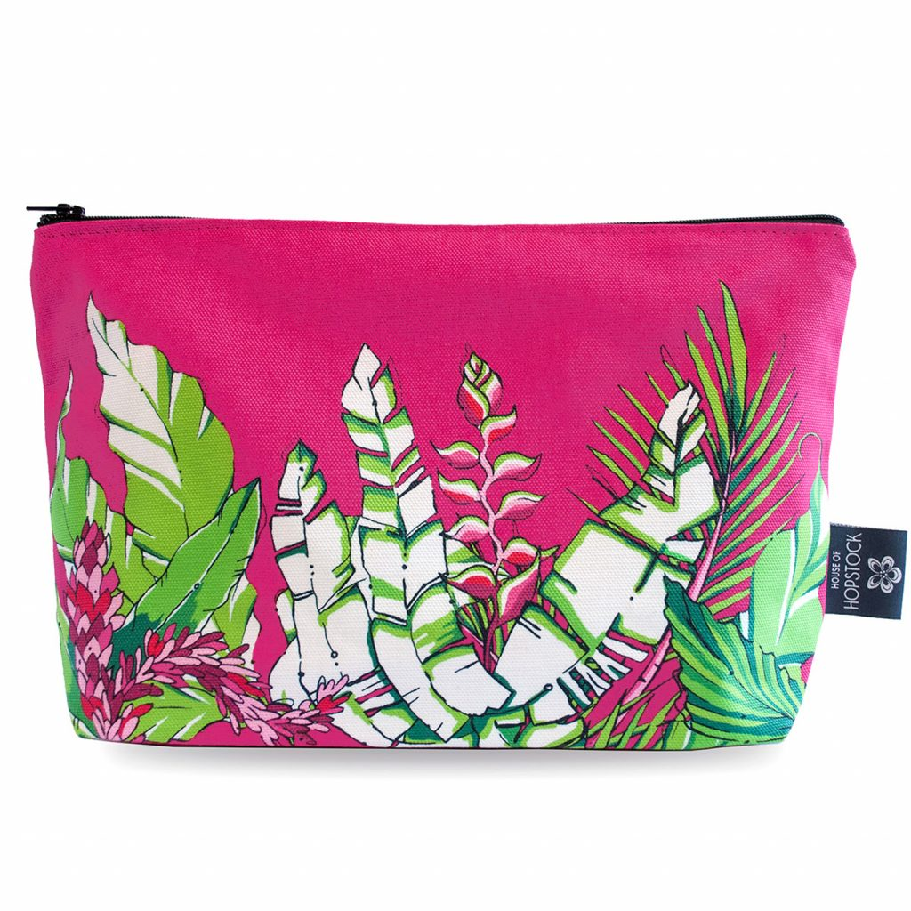 Palm Print Makeup Pouch 'Winter Palm Magenta'