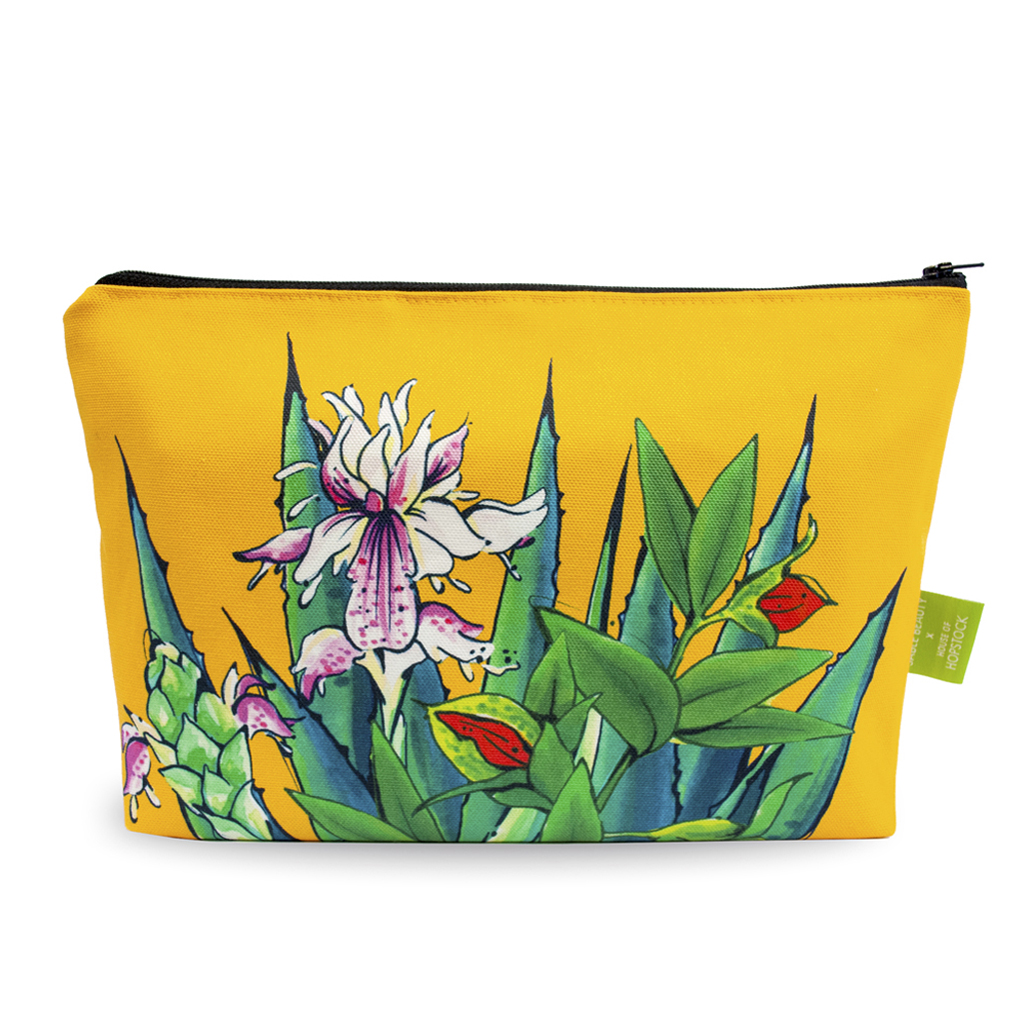 Tropical Print Makeup Pouch 'Tulum Saffron'