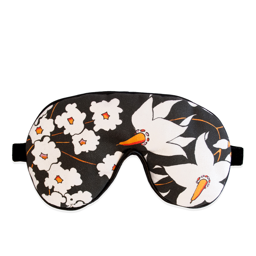 Floral Print Eye Mask 'Deadly Bloom' Black