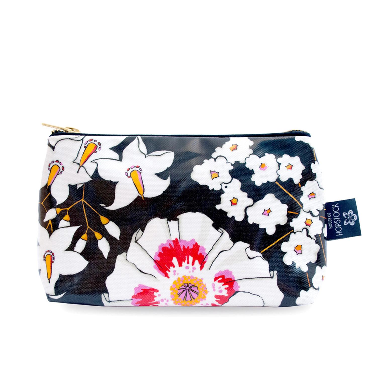 Floral Print Wash Bag 'Deadly Bloom' Medium