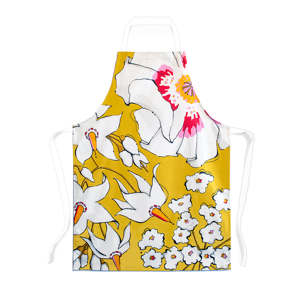 Floral Print Children's Apron 'Deadly Bloom' Gold