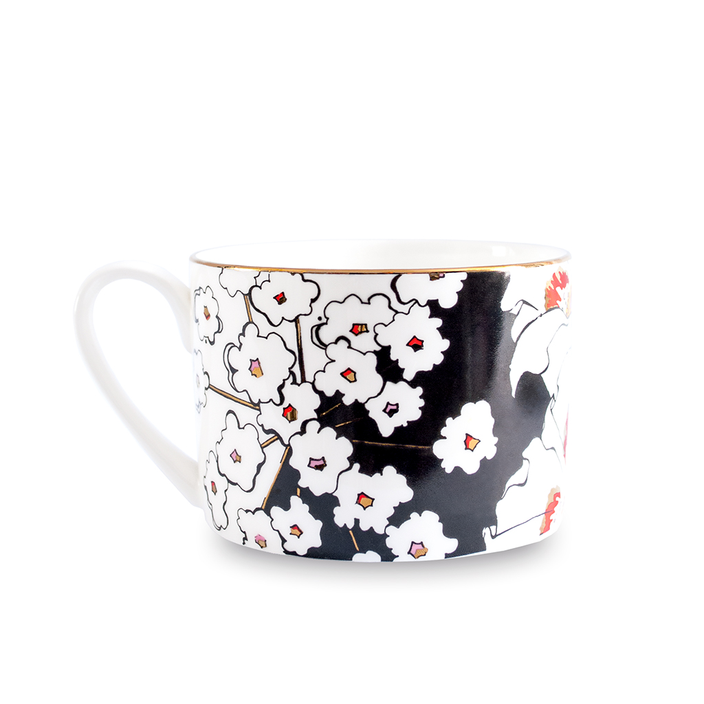 Fine Bone China Cup and Saucer 'Deadly Bloom'
