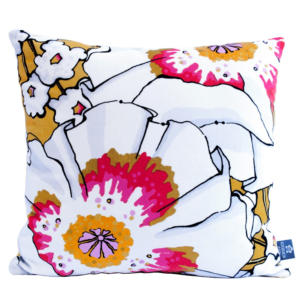 Floral Print Cushion Cover 'Deadly Bloom' Poppy Gold