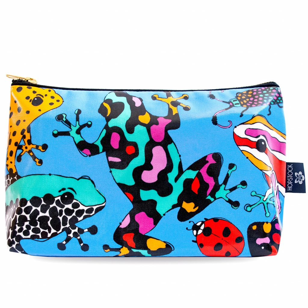 Frog Print Wash Bag 'Fatal Attraction Blue' Large