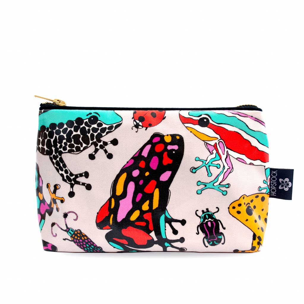 Frog Print Wash Bag 'Fatal Attraction Taupe' Medium