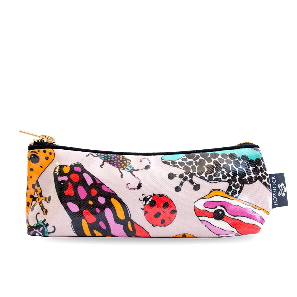 Frog Print Wash Bag 'Fatal Attraction Taupe' Small